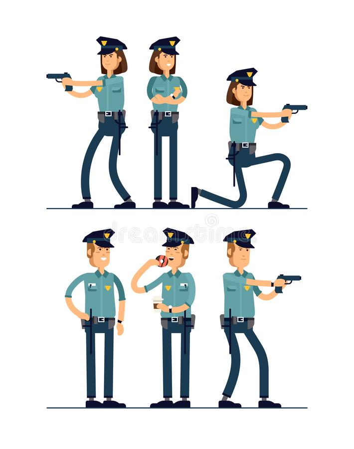 Vector illustration set female and male policeman character. A policeman in uniform is standing in different poses vector illustration