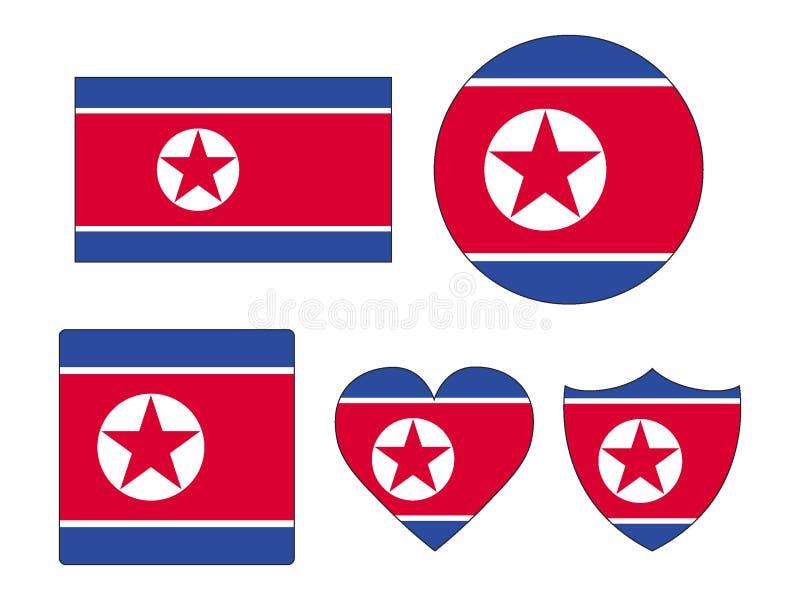 Set of Flags of North Korea vector illustration