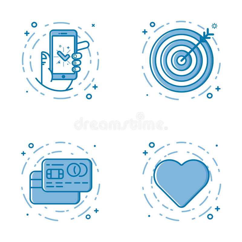 Vector illustration set of flat bold line icons with star - favorite sign, shield - web security, 24 7. royalty free illustration
