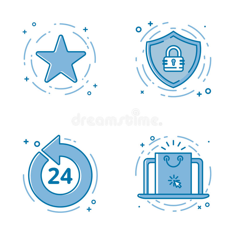 Vector illustration set of flat bold line icons with star - favorite sign, shield - web security, 24 7. Vector illustration set of flat bold line icons with royalty free illustration