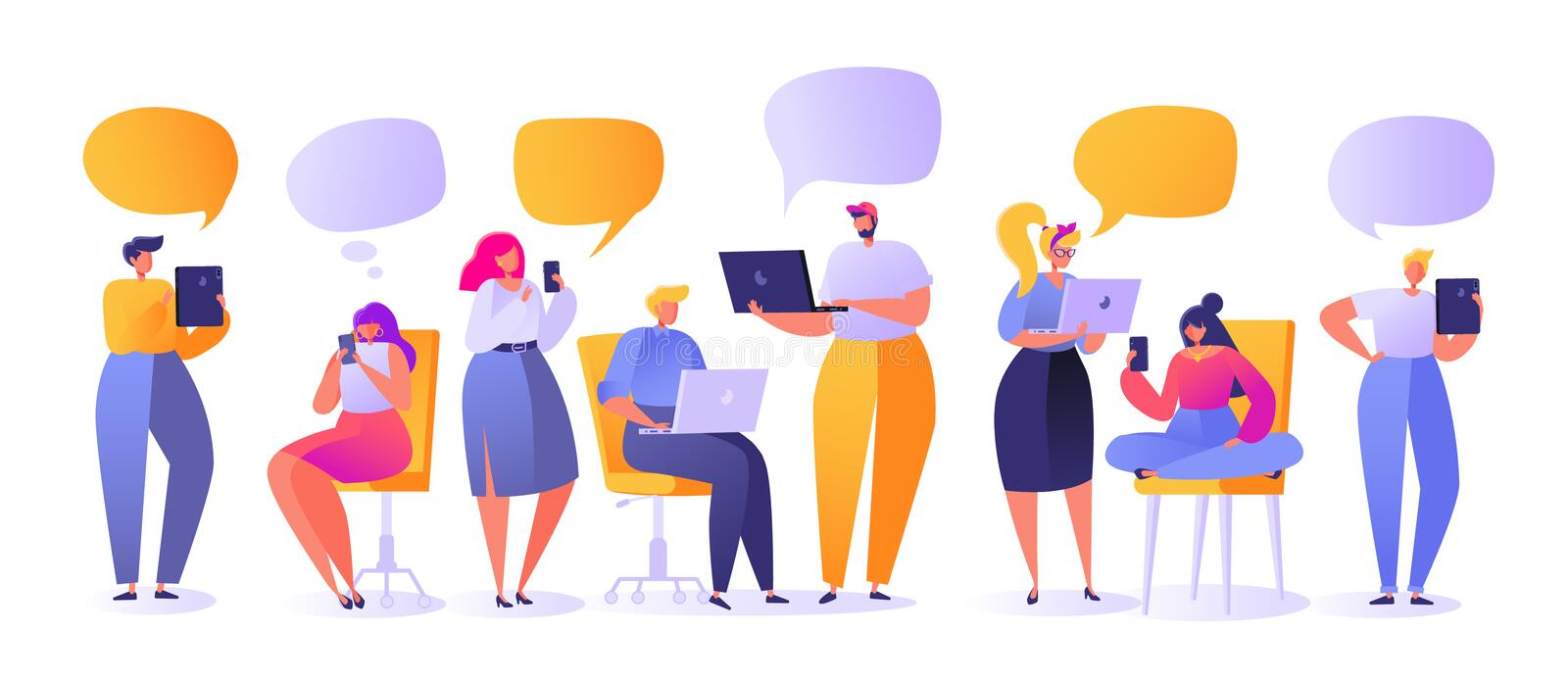 Vector illustration with set of flat people characters chatting in social networks. Man and woman communicating online with mobile devices; tablet, laptop stock illustration