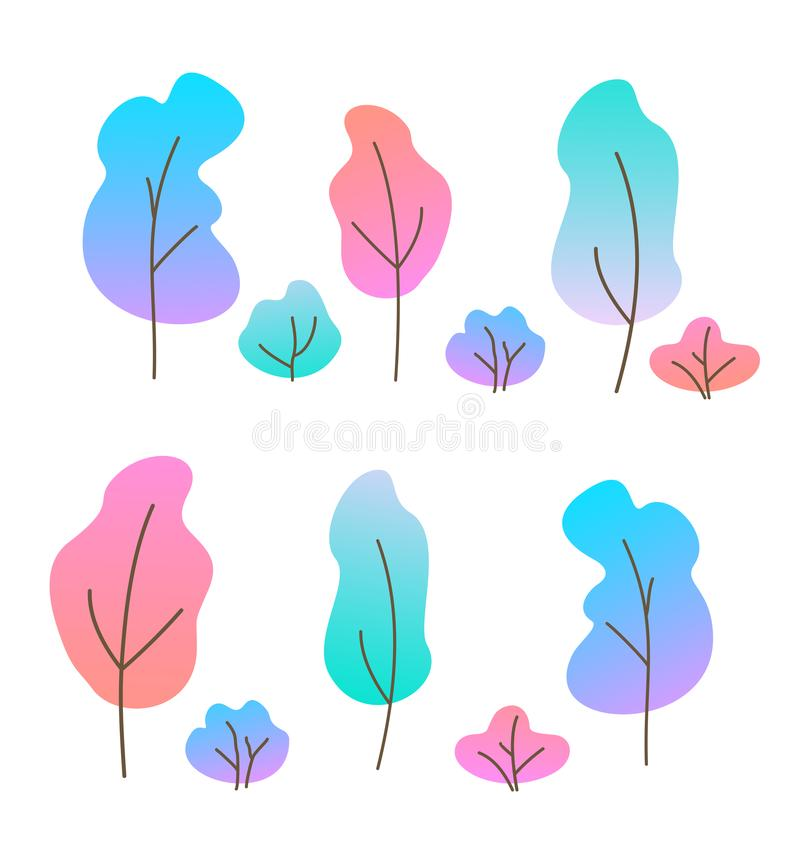 Vector illustration set of flat trees and bushes. Various trees with color gradient. Simple cartoon trees on white stock illustration