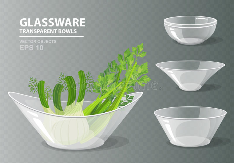 Vector illustration set of four transparent glass bowls with celery and fennel for your design. Kitchen objects on grey checkered background. Cooking vector illustration