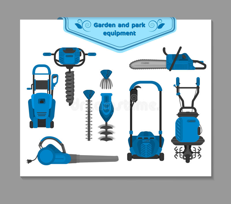 Vector illustration, set of garden and park equipment stock photos