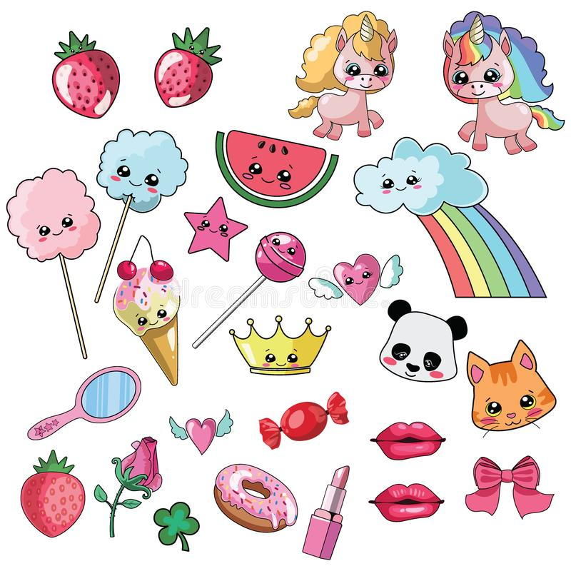 Vector illustration set for girl. Collection of stylized drawings for the princess. Unicorn. Rainbow. stock illustration