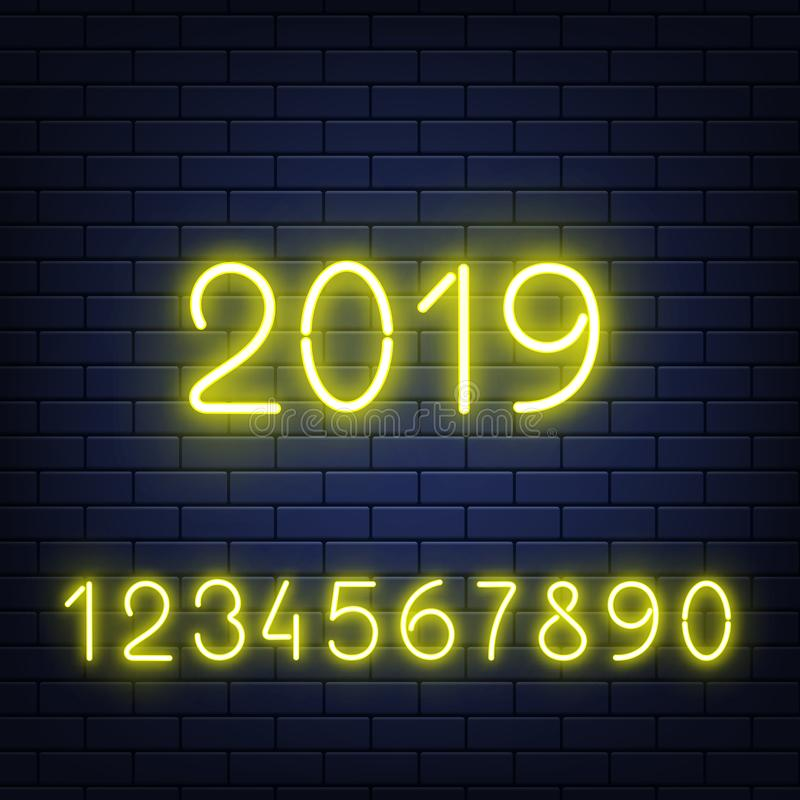 Vector illustration set of glowing neon numbers on dark brick wall background. royalty free illustration