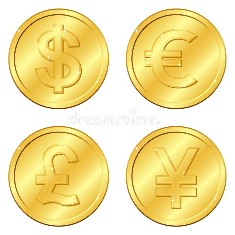 Vector illustration. Set of gold coins with 4 major currencies. Dollar, Euro, Pound sterling, Yuan or Yen. Chips. Editable stock image