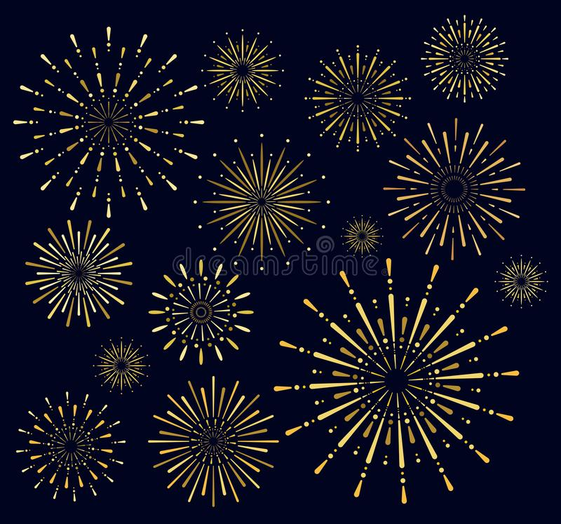 Vector illustration set of golden firework salute burst on dark background. Salute collection in night sky background. Vector illustration set of golden vector illustration