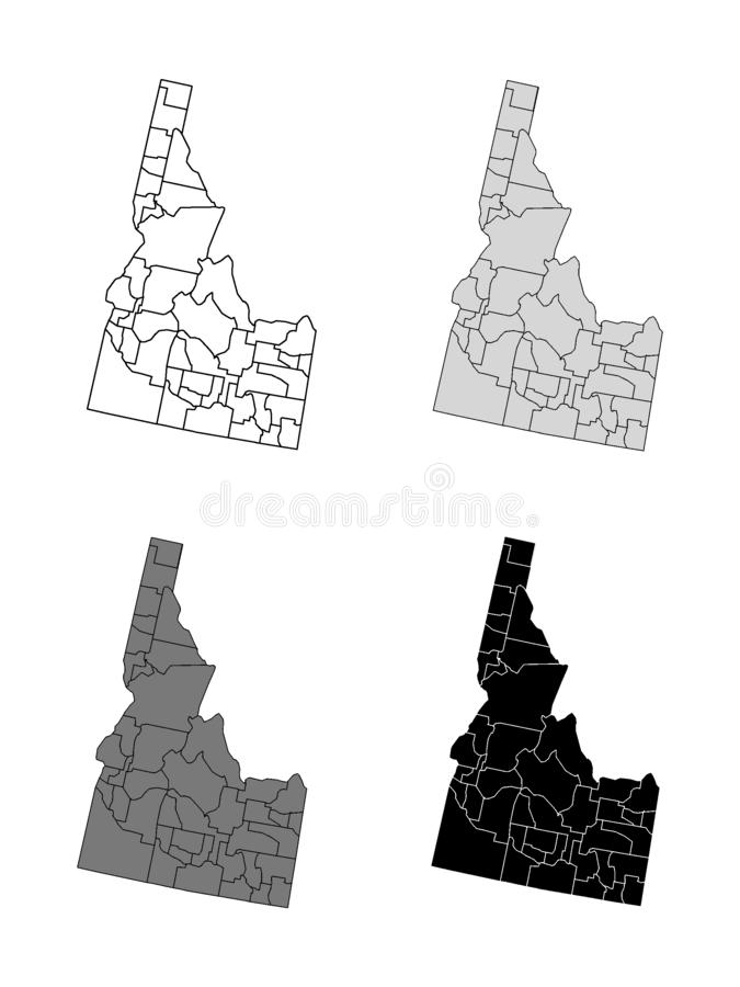 Set of Counties Maps of US State of Idaho. Vector illustration of the Set of Gray Flags of US State of Idaho vector illustration