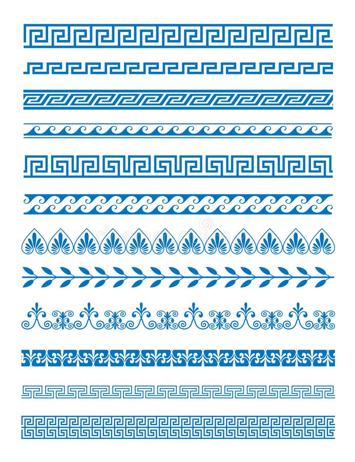 Vector illustration set of Greek patterns and ornaments on white background. Wave and meander decorative elements set royalty free illustration