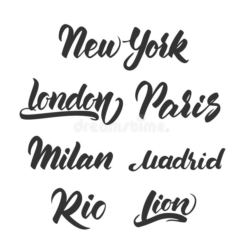 Set of hand drawn lettering template for emblem of Cities. New York, London, Paris, Milan, Madrid, Rio, Lion. royalty free illustration