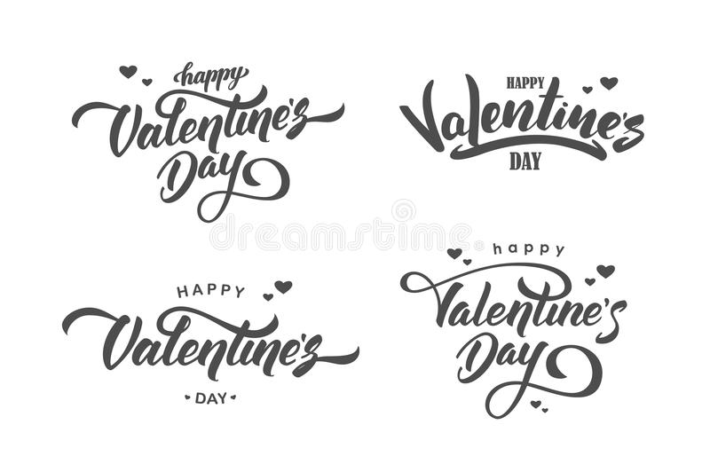 Vector illustration: Set of handwritten lettering compositions of Happy Valentines Day on white background vector illustration