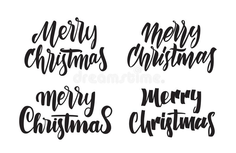 Download Set Of Handwritten Type Lettering Merry Christmas Typography Design For Greetings Cards Stock