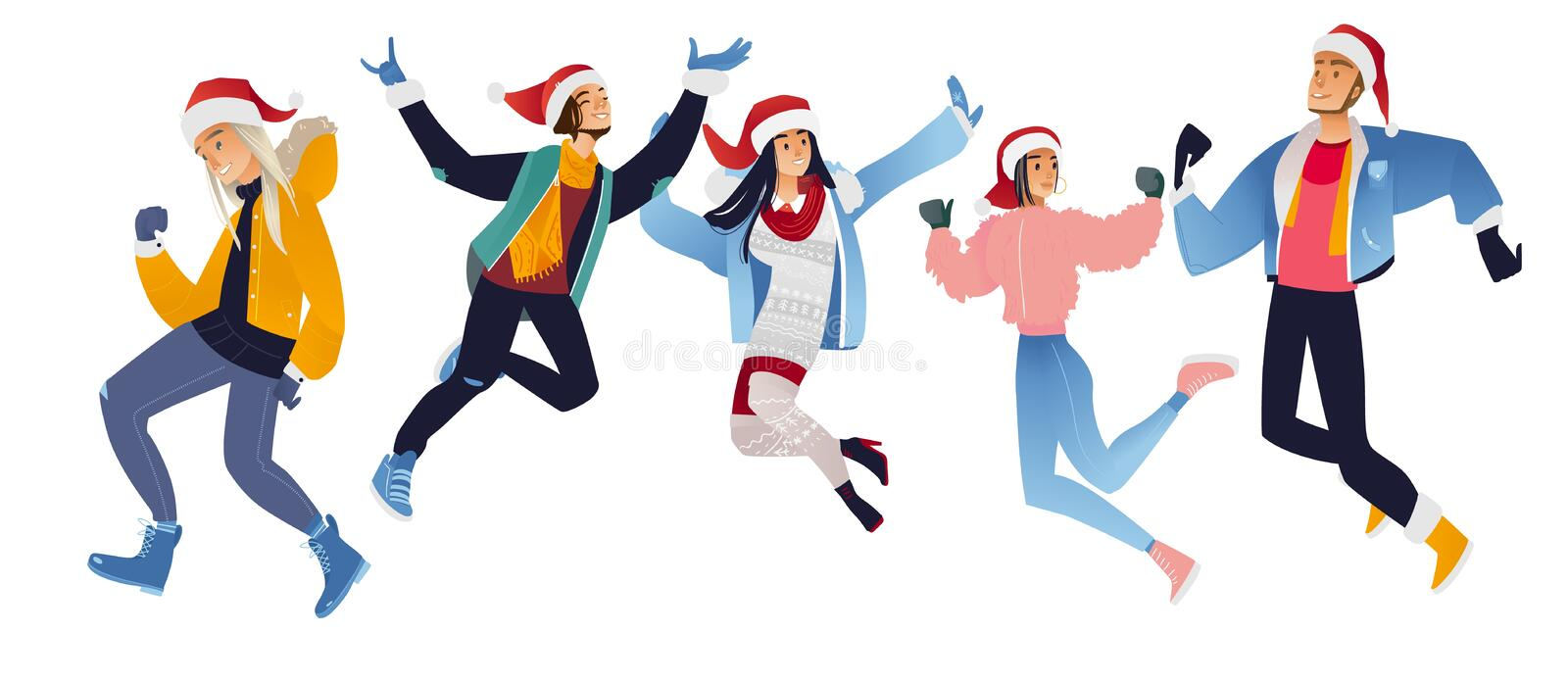 Vector illustration set of happy young people in Santa Claus hats jumping and having fun. stock illustration