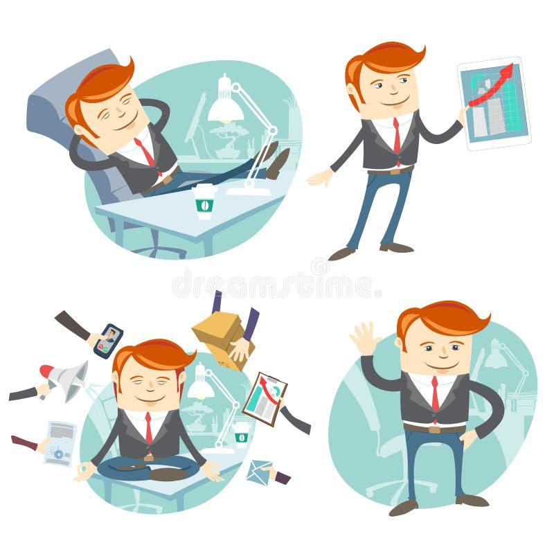 Vector Illustration Set of hipster officeman: lazy worker foot o royalty free illustration