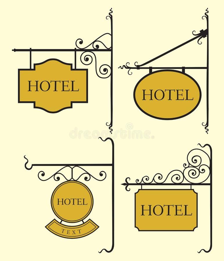Set of hotel sign board. Vector illustration of the Set of hotel sign board stock illustration