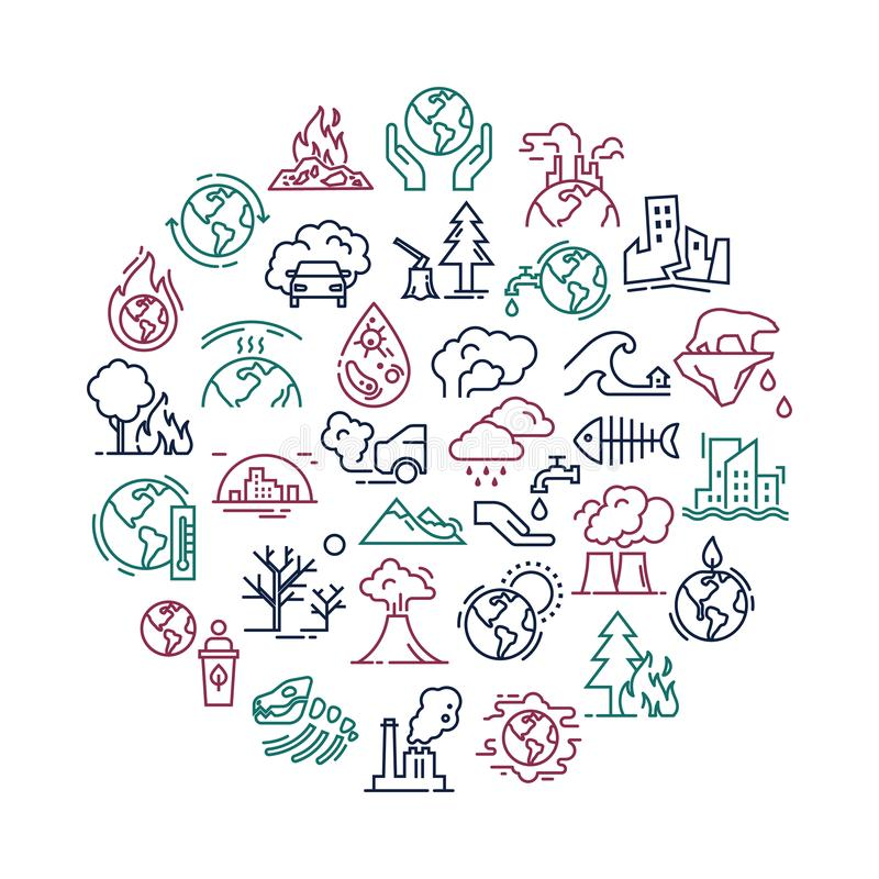 Vector illustration with set of icons isolated on a white background on the of planet pollution. stock illustration
