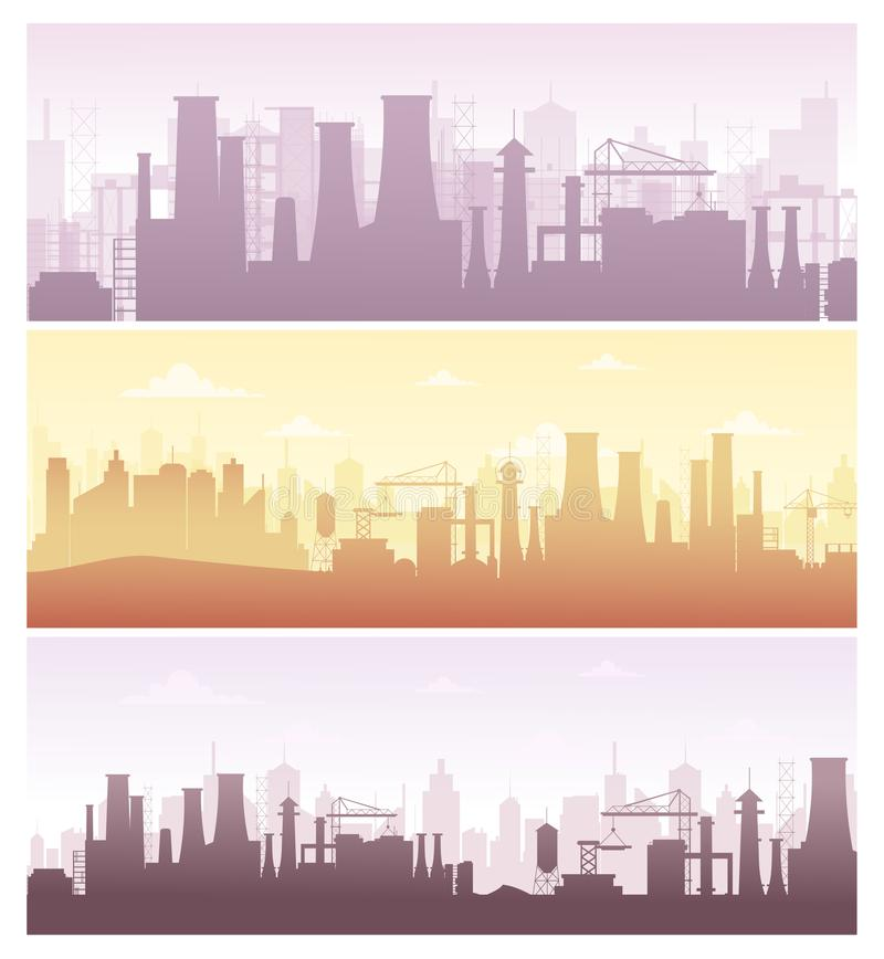 Vector illustration set of industrial backgrounds, banners. Collection of manufacture landscapes with pollution, factory vector illustration