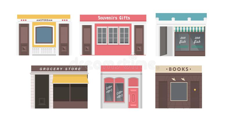 Collection of shops stock illustration