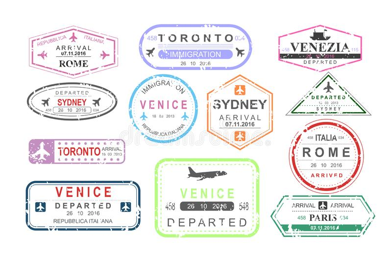Vector illustration set of isolated visa passport stamps of arriving and departure, tourism sign, arrival document stock illustration