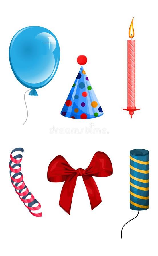 Set of objects for celebration royalty free illustration