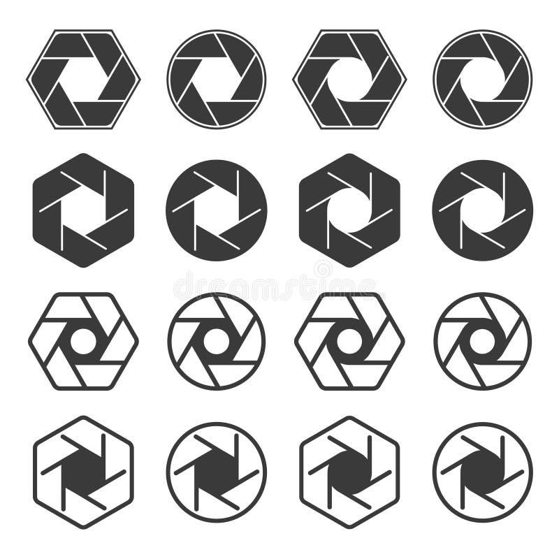 Vector camera shutter icon set vector illustration