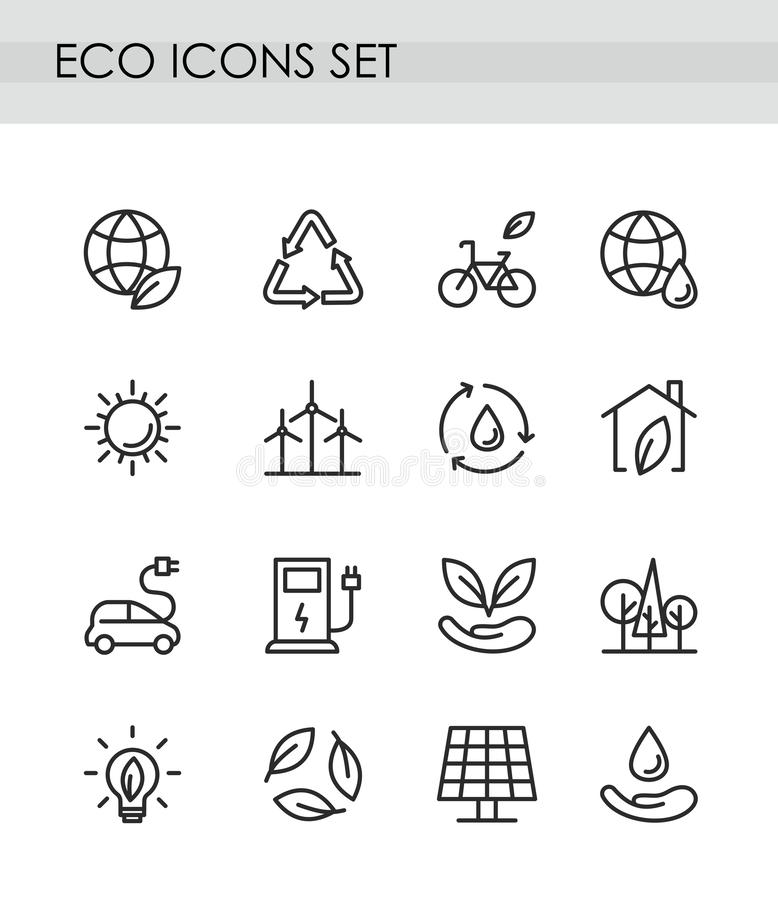 Vector illustration set of line eco icons. Green technologies concept. recycling, alternative energy, electrocar icons stock illustration