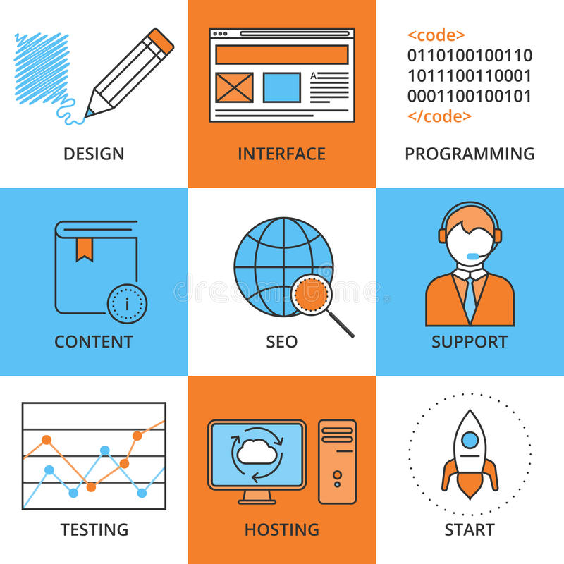 Vector illustration of a set of linear icons web design . Thin i stock illustration
