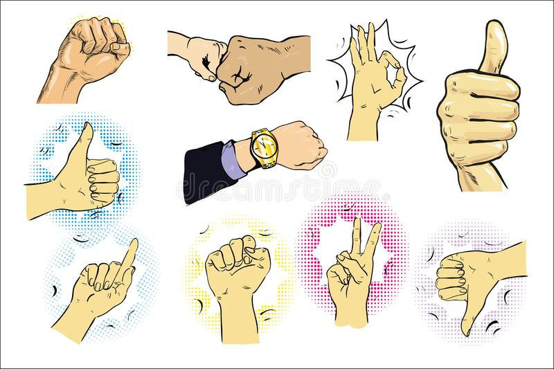 Vector illustration of a set of male hand gestures. Pointing finger, like or thumb up, ok sign. Hand drawn vintage comic vector illustration