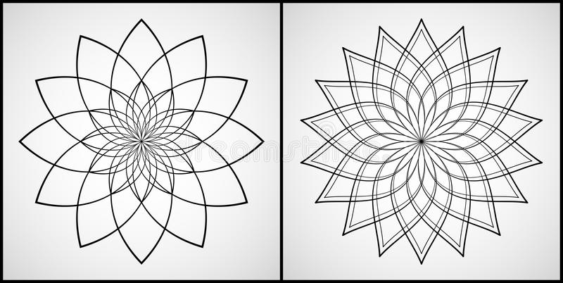 Vector Illustration - Set of 2 Mandalas for coloring. Round Ornament Patterns. Coloring Page. stock photography