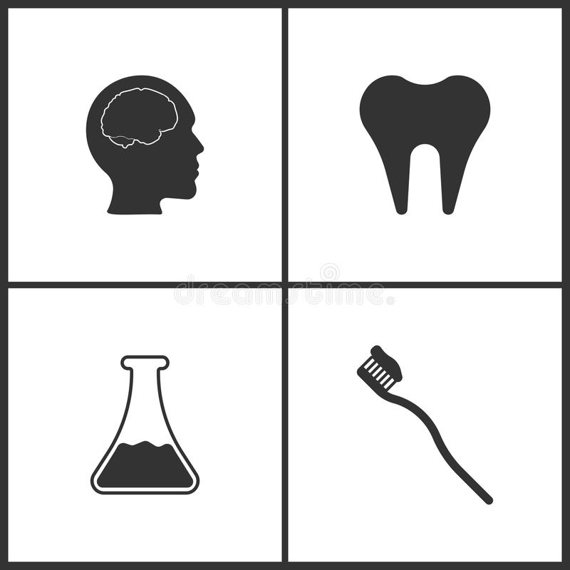 Vector Illustration Set Medical Icons. Elements of Brain , Tooth, Laboratory glass and Toothbrash icon. On white background stock illustration
