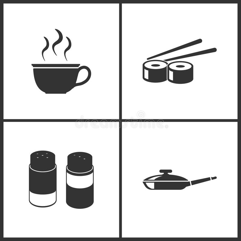 Vector Illustration Set Medical Icons. Elements of Cup, Sushi, Salt and pepper and Pan icon stock illustration