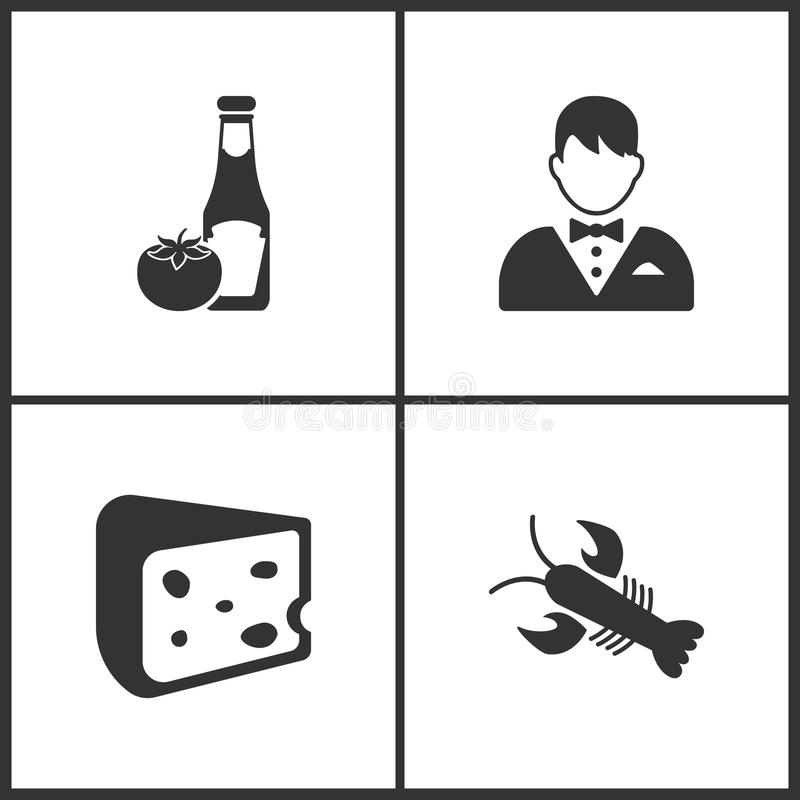 Vector Illustration Set Medical Icons. Elements of Ketchup, Waiter, Cheese and Crab icon royalty free illustration