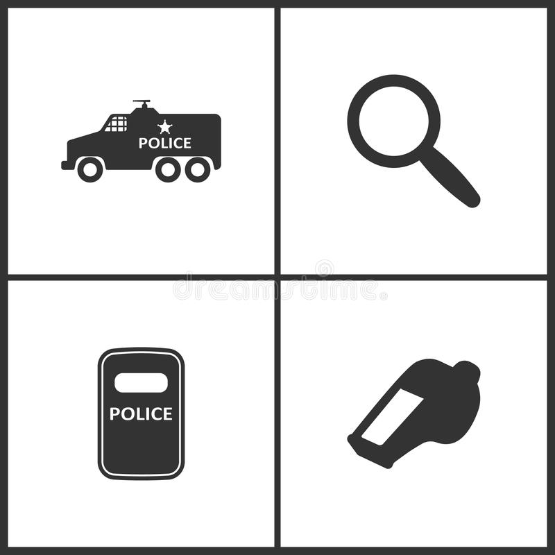 Vector Illustration Set Medical Icons. Elements of Police Car, Magnify, Riot Police and The whistle icon. On white background stock illustration