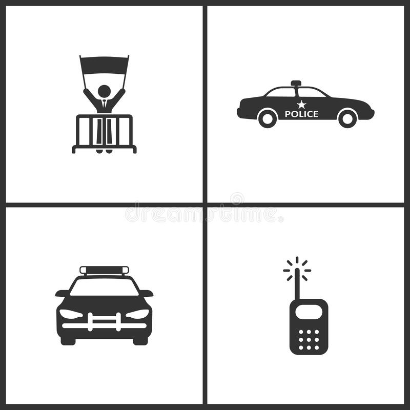 Vector Illustration Set Medical Icons. Elements of Protest, Police Car and Radio icon royalty free illustration