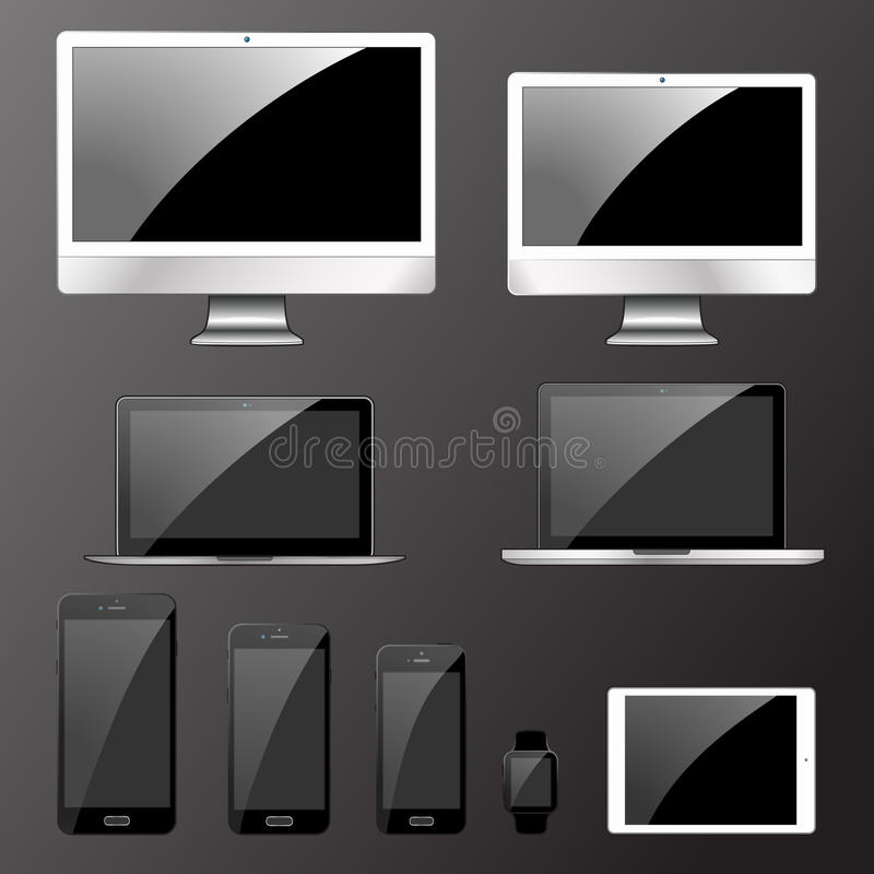 Vector illustration, set of modern electronic devices vector illustration