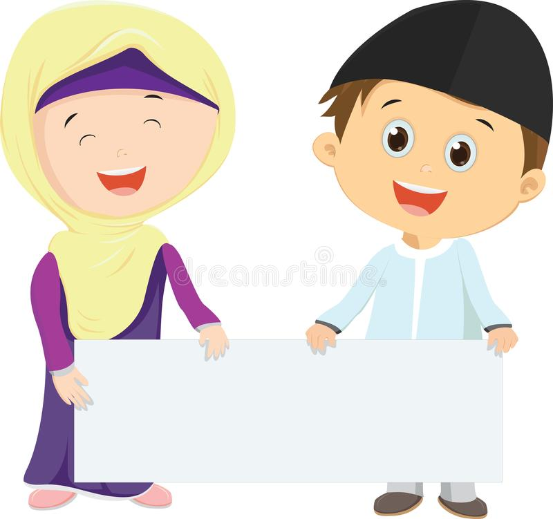 Muslim Kids holding blank sign. Vector illustration set of Muslim Kids holding blank sign isolated on white royalty free illustration