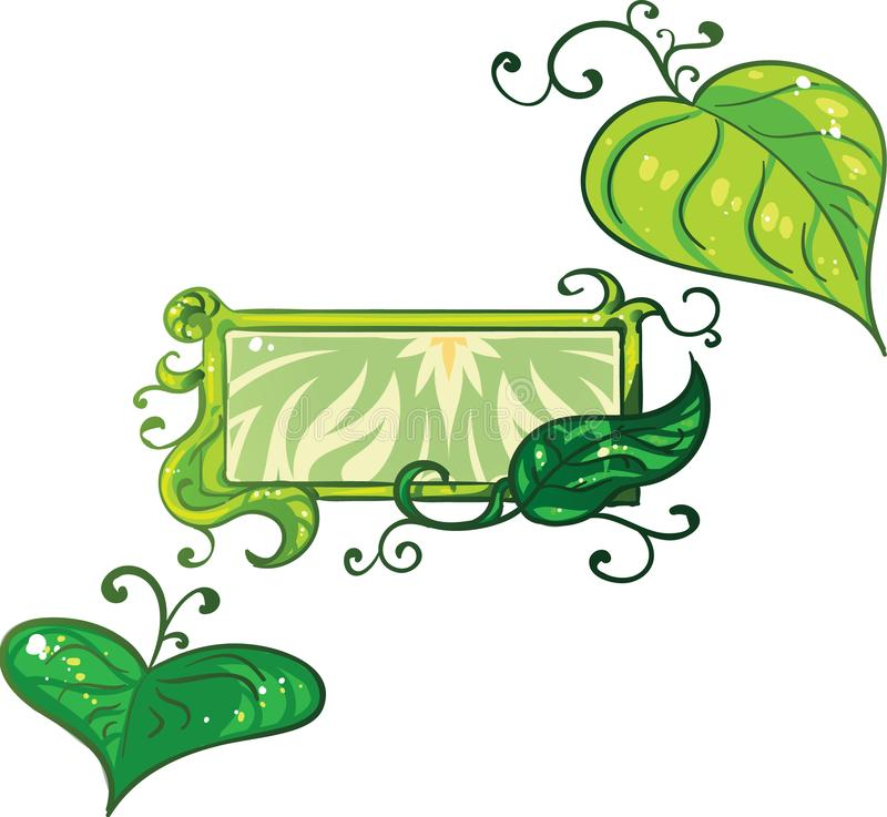 Set of nature related elements such as leafs and ivy with an additonal banner template stock images