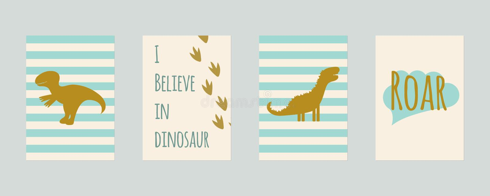 Set of nursery cards with dinosaurs. For kids prints, postcards, wall art. Vector illustration. set of nursery cards with dinosaurs. For kids prints, postcards vector illustration