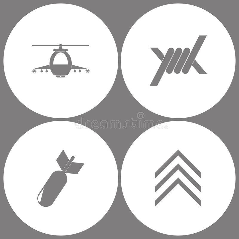 Vector Illustration Set Office Army Icons. Elements of military helicopter, Barbed Wire, Aviation Bomb and Military emblem rank i royalty free illustration