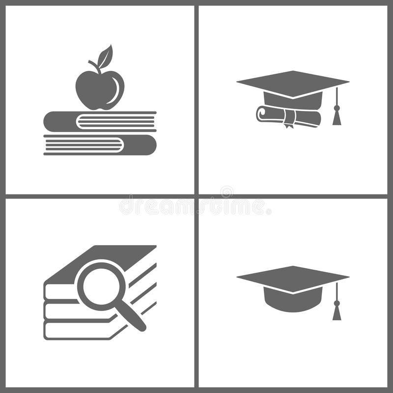 Vector Illustration Set Office Education Icons. Elements of Apple and book, graduation cap and diploma black web, Book search and. Graduation cap on white vector illustration