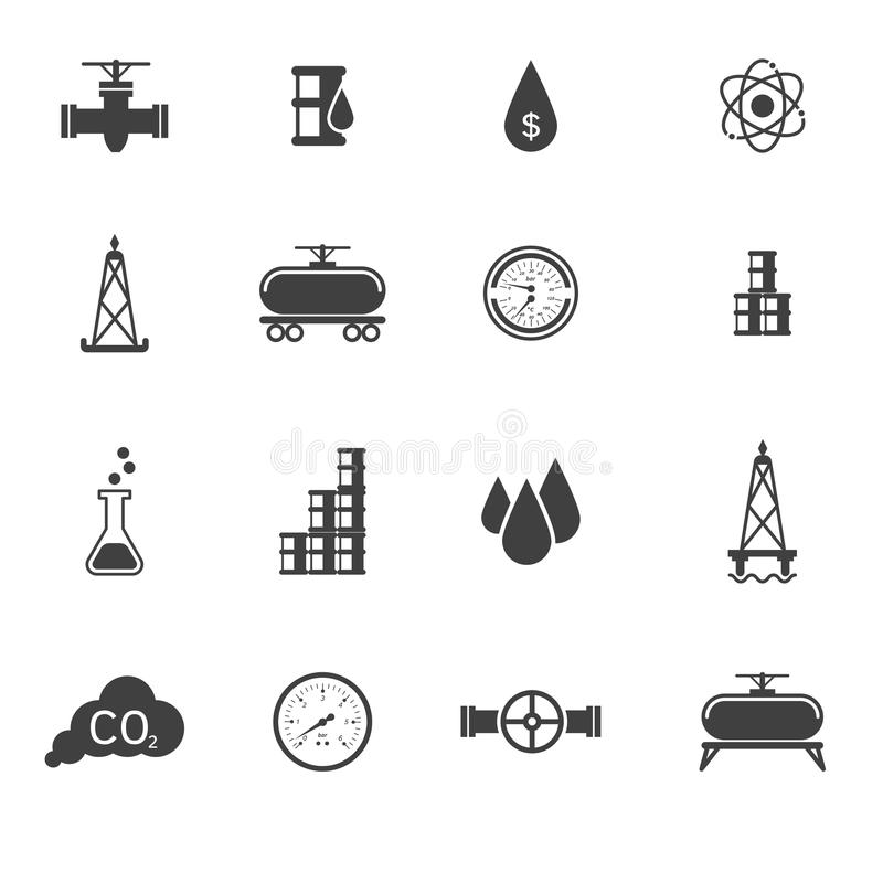 Vector illustration set of oil icons and signs. Easy to edit, clear and simple vector illustration