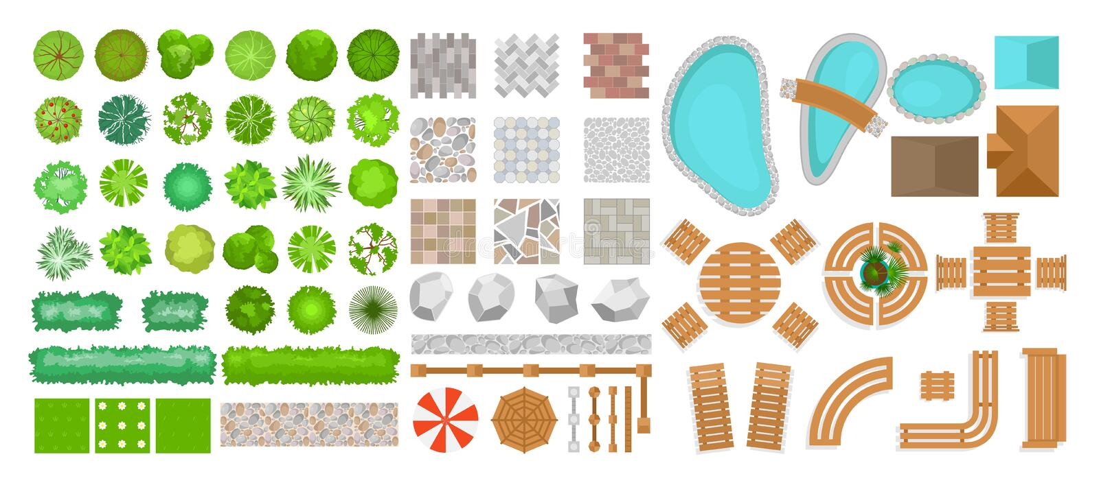 Vector illustration set of park elements for landscape design. Top view of trees, outdoor furniture, plants and. Architectural elements, fences, sun loungers stock illustration