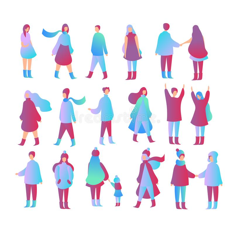 Vector illustration set of people in different poses, walking with kid, standing, meeting each other. Male and female stock illustration