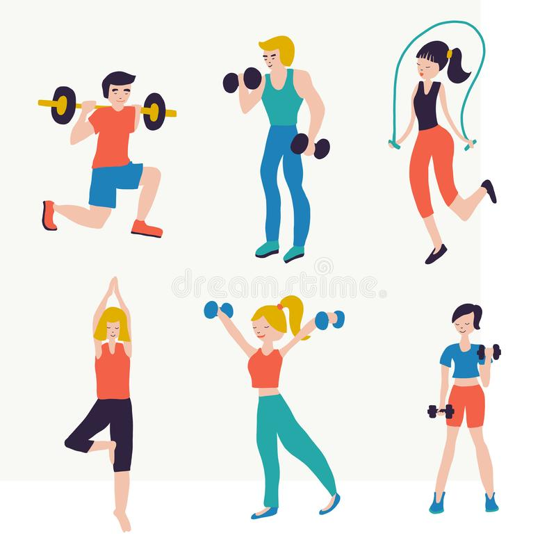Vector Illustration Set People Fitness Workout Exercises Sport Club Gym Body Building Powerlifting Health Training Stock Vector Illustration Of Slim Class 148285078