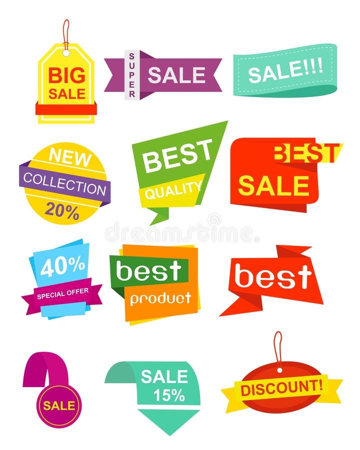 Vector illustration set pf labels, stickers. Colorful and bright Collection of Sale Discount Styled origami Banners royalty free illustration
