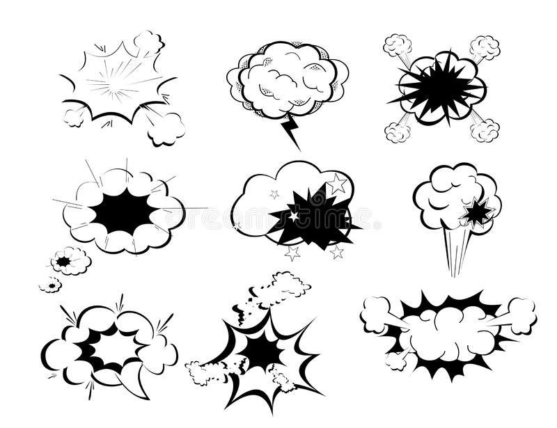 Vector illustration set picture blank template comic text speech chat background style pop art. Dialog empty cloud, in vector illustration