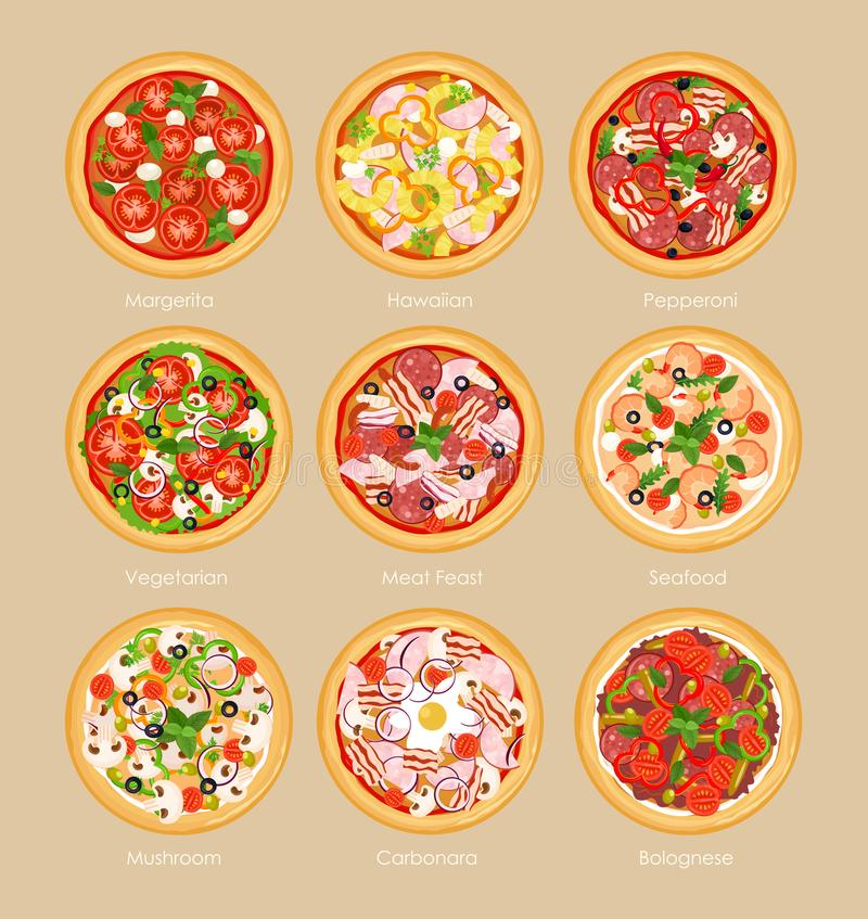 Vector illustration set of pizza with different ingredients, vegetarian pizza, margarita and seafood. Pizza menu concept vector illustration