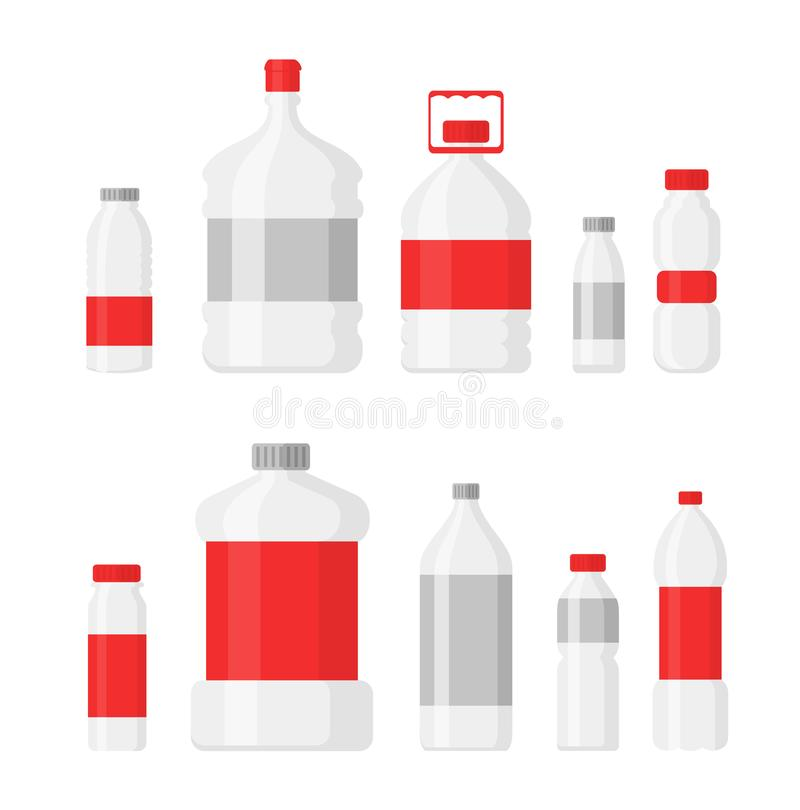 Vector illustration set of plastic bottles for drinking water and liquids, PET, recyclable. Different shapes of bottles vector illustration