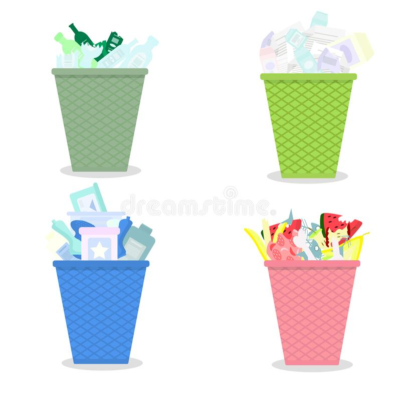 Vector drawing of garbage baskets with junk waste white background stock illustration